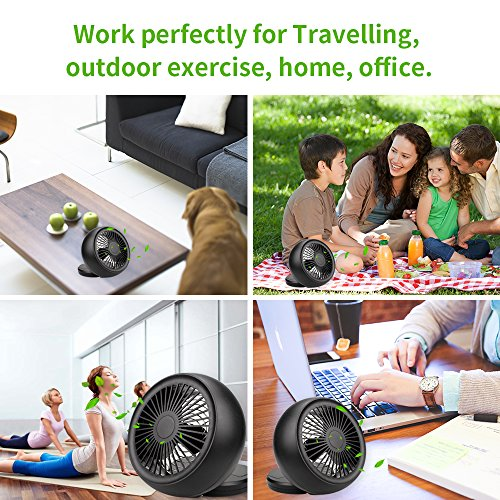 Mini USB Fan, Throne 6 Portable Desk Fan w/USB and Battery Dual Power Supply, Angle Adjustable and Low Noise, Silent Cooling Fan for Home, Office with Powerful Airflow (Black) by WolfArya (Image #5)