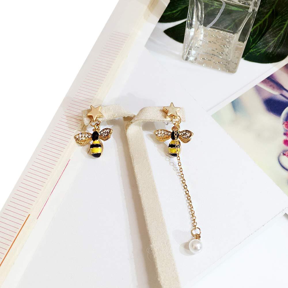 LOYOFO Lovely Flower and Bee Earrings Asymmetrical Stud Earrings for Women Girls