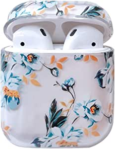 Ownest Compatible with AirPods Case with Girls Cute Clear Smooth PC Shockproof No Dust Cover Case for Airpods 2 &1,Cute for Airpods-(Blue Flowers-3)
