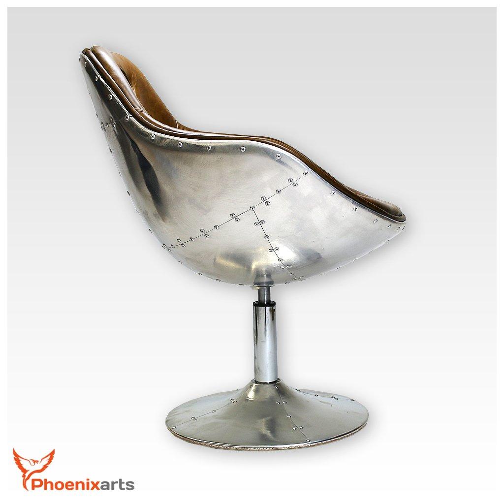 Colore Marrone dal Design Industriale Modello 703 Phoenixarts Poltrona Vintage Girevole in Vera Pelle e Alluminio rivettato