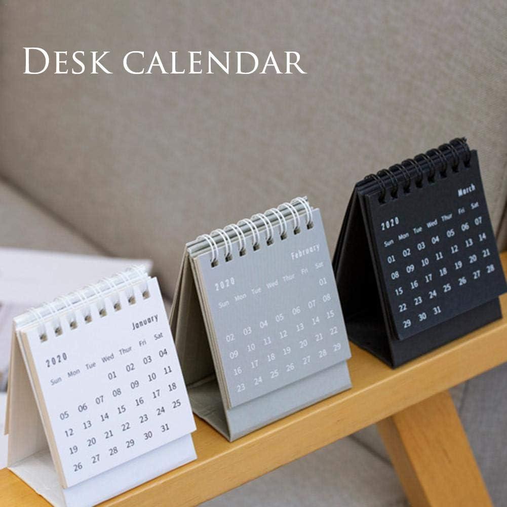 Chalkalon Calendario de Escritorio 2020 Estilo Simple Bobina Mini Calendario Flip de Escritorio para la Escuela de Ministerio del Interior Usar para Grabar D/ías Importantes
