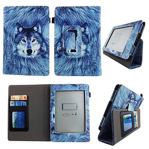 (Snow Wolf For kindle paperwhite Case 6 inch Slim Thinnest PU Leather Folio Stand Book Style Cover Travel E-reader Stylus ID Slots)