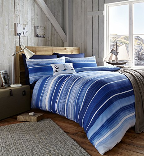 Catherine Lansfield blau gestreifte Seaside Single-Bettwäsche Bettbezug mit Kissenbezug