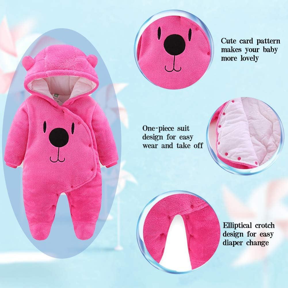 ALLAIBB Baby Fleece Snowsuit Winter Bunting Onesie Cartoon Bear Hooded Romper