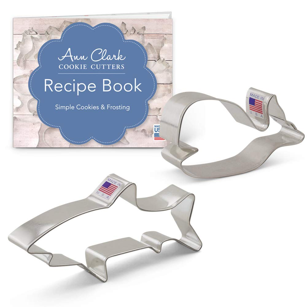 Ann Clark Marine Life Cookie Cutter Set with Recipe Book - 2 Piece - Shark and Cute Whale - USA Made Steel
