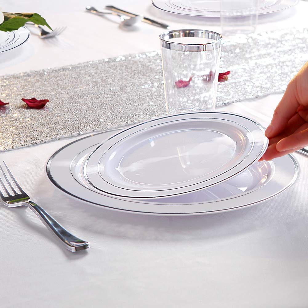 WDF 120PCS Silver Plastic Plates-Disposable Plastic Plates with Silver Rim- Plastic Wedding Party Plates including 60Plastic Dinner Plates 10.25inch,60 Salad Plates 7.5inch by WDF (Image #2)