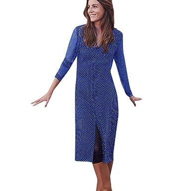 5aaa7842f4f OHQ-Femme Robes De Soiree des Madame Jupe Longue Mousseline Point Vague  Impression Cardigan Manches