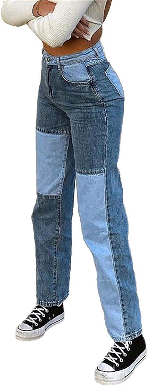 Onsoyours Jean Bootcut Femme Mode Couleur Bloc Taille Haute Denim Pantalon Streetwear Stretch Evas/é Pants Patchwork Droite Trousers avec Poches