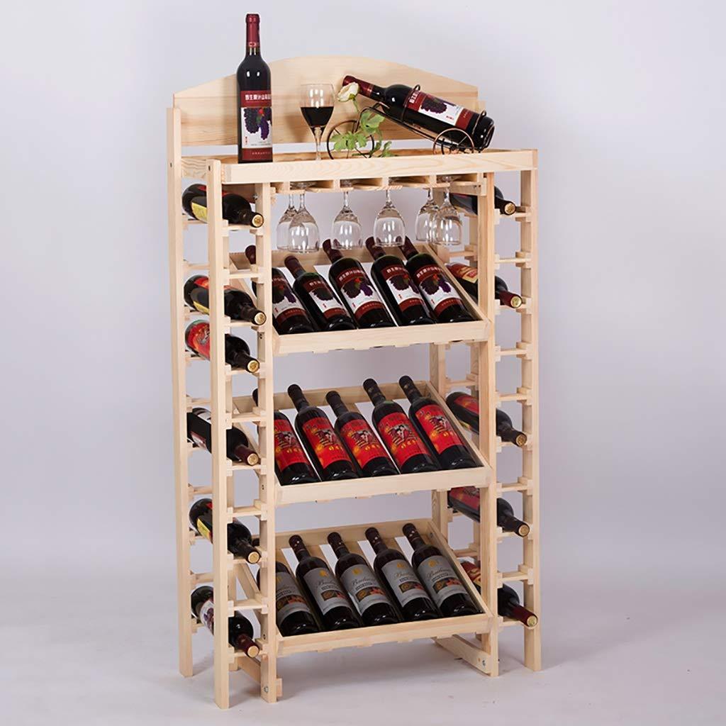 ワインラック、純木ディスプレイスタンド、多機能ワインボトルラック、バーホームフロアワインシェルフ装飾H 130 * L 73 * W 35 CM (色 : D) B07QVXHZ3R D
