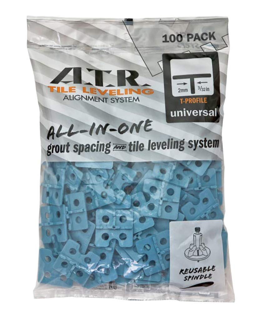ATR Leveling System - Universal 2mm T' Plates Qty 100 by ATR TILE LEVELING ALIGNMENT SYSTEM