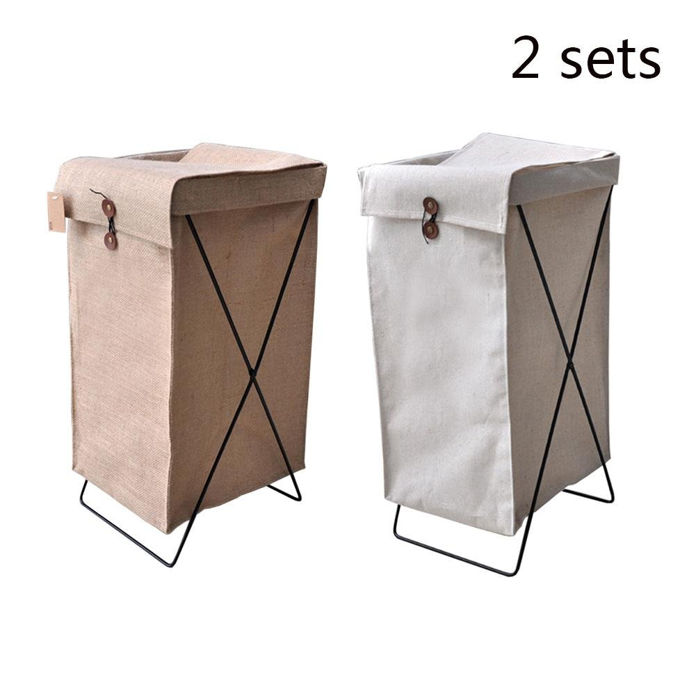 TSAR003 Large Waterproof Cotton And Linen Frame With Lid Laundry Hamper Or Basket Dirty Clothes Storage Finishing Box , 2 Sets