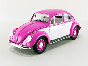 1967 Volkswagen Beetle Right Hand Drive in Pink and White, Opening Doors, Trunk, and Hood, Officially Licensed, True-to-Scale Detail, Authentic Decoration, Real Rubber Tires, Chrome Accents,
