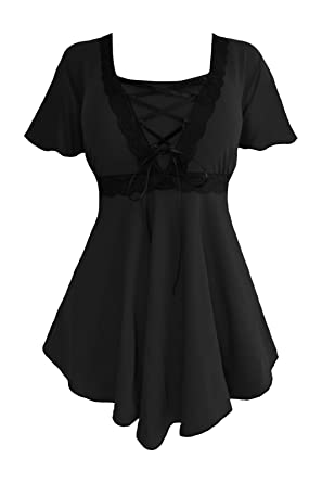 eaff76209a52c Dare to Wear Victorian Gothic Boho Women s Plus Size Angel Corset Top  Black Black S
