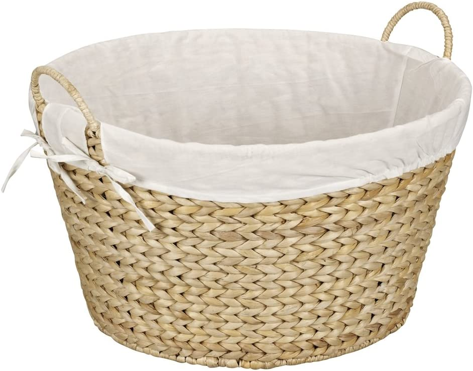 Household Essentials ML-6667N Round Wicker Laundry Basket Hamper with Liner - Natural