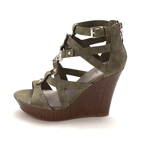 a334e5cc9 G By Guess Womens Dodge Open Toe Casual Platform Sandals, Green, Size 9.5:  Amazon.ca: Shoes & Handbags