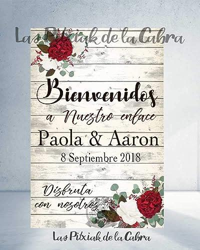 Cartel Bienvenidos a nuestra Boda flores con flores granates ...