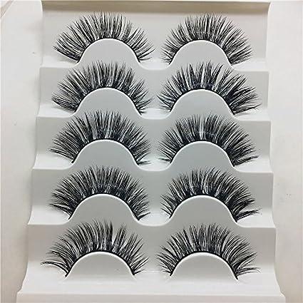 kxnet 1 caja 5 par lujo tira de peluche 3d ojo pestañas pestañas larga Fashion Natural