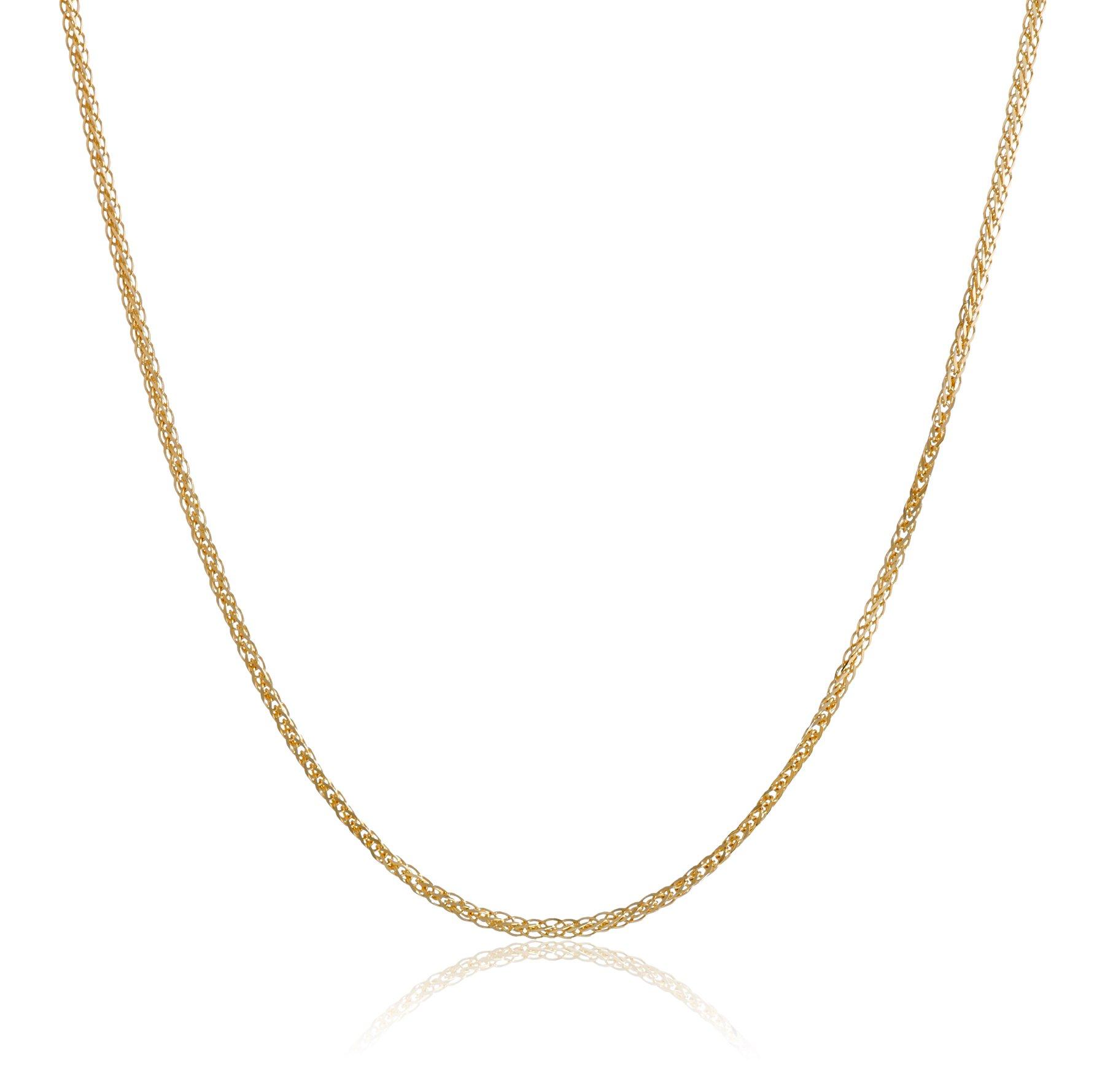 18k Yellow Gold Diamond-Cut Wheat Chain Necklace, 18''