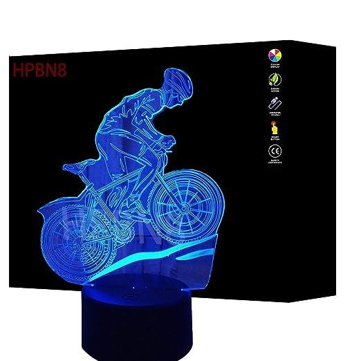 3D Bicicleta ilusión Lámpara Luz Nocturna 7 Colores Cambiantes Touch USB de Suministro de Energía Juguetes Decoración Regalo de Navidad Cumpleaños