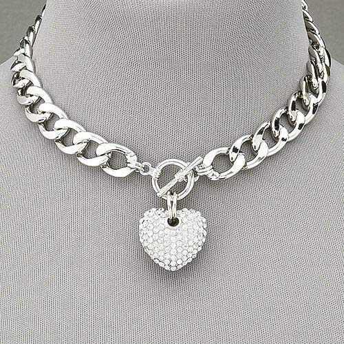 Rhodium Silver Chain Choker Style Necklace With Paved Rhinestone Heart Pendant ()