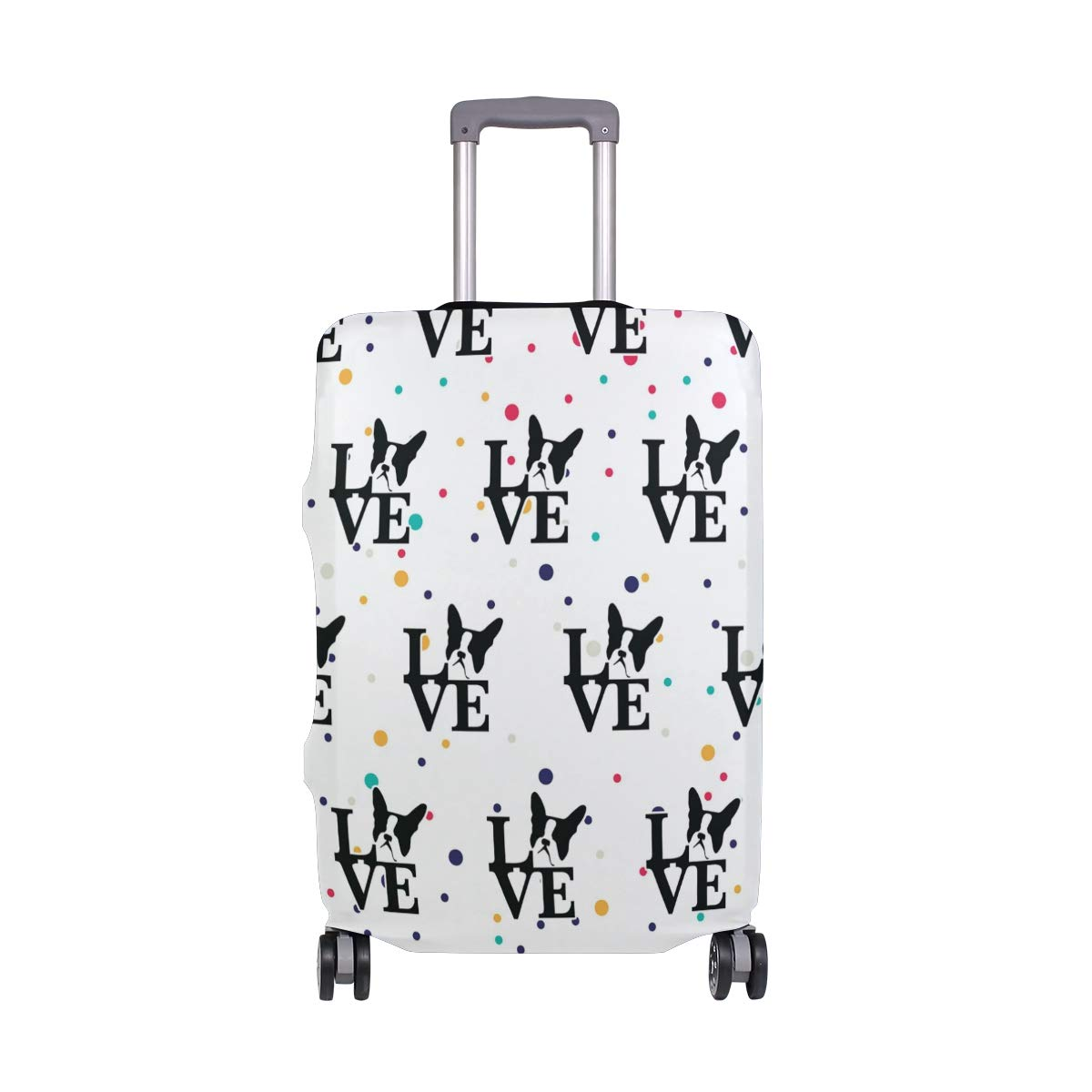 Boston Terrier Love Travel Luggage Cover - Suitcase Protector HLive Spandex Dust Proof Covers with Zipper, Fits 18-32 inch