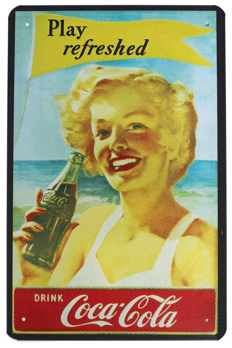 Coca Cola : Vintage Lady Play Refresh, Coke Metal Tin Sign, Art ...