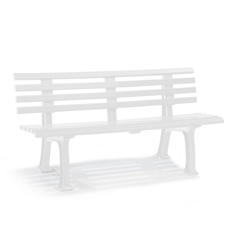 Parkbank aus Kunststoff - mit 9 Leisten - Breite 1500 mm, weiß - Sitzbank Gartenbank Ruhebank Bank für Außenbereich UV- und witterungsBesteändig PVC Bank