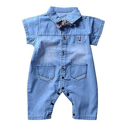 ampia scelta di colori per tutta la famiglia up-to-date styling Wongfon Abito pagliaccetto jeans per neonati e ragazzi ...