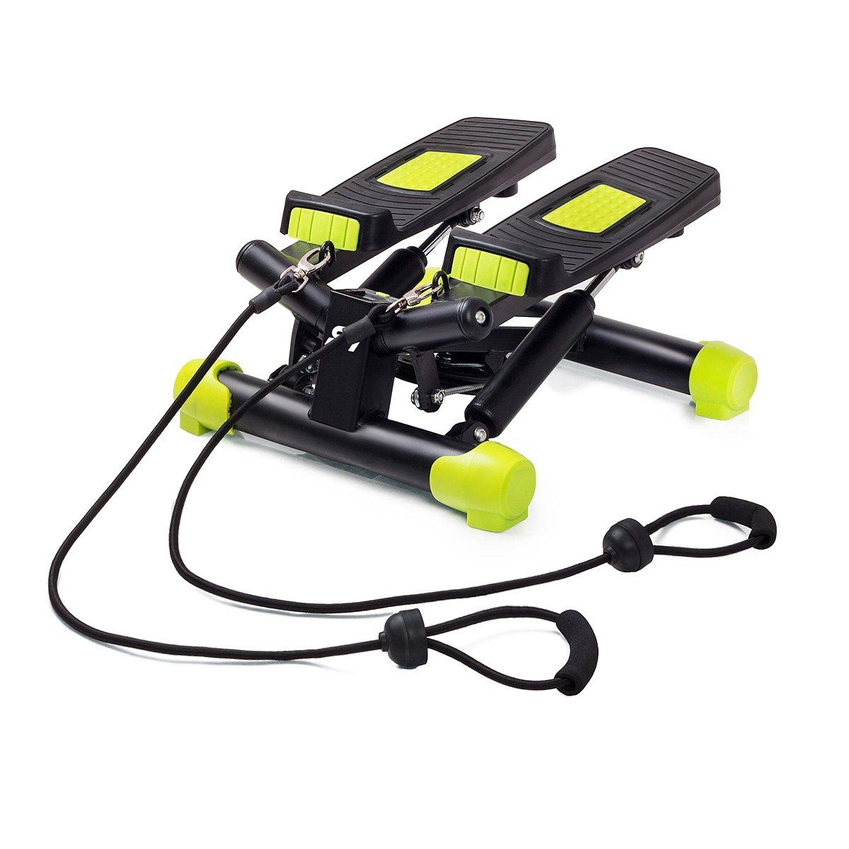FitKraft Swing Stepper con Ordenador y Cuerdas Negro de Color Verde FTKTSTEPSWI000