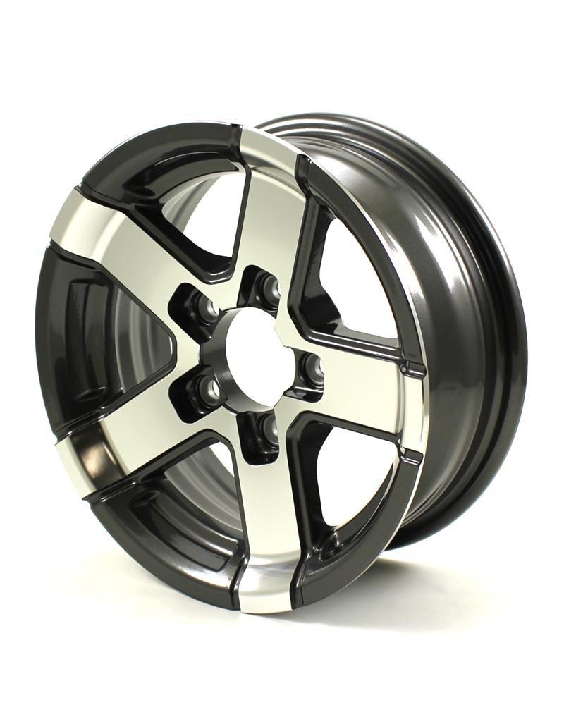 HWT 735545 13X5 5/4.5 Aluminum Series07 Trailer Wheel - Gray Accent by Hispec Wheel (Image #2)