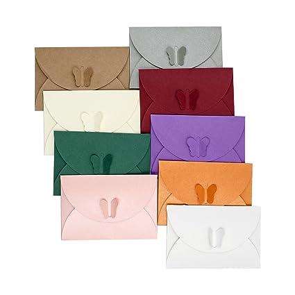 Zhi Jin 100pcs Mini mariposa carta sobres tarjeta de visita caso titular tarjeta de felicitación sobre Set de regalo para boda invitaciones de ...