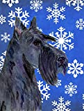 Caroline's Treasures SS4667CHF Scottish Terrier Winter Snowflakes Holiday Flag Canvas, Large, Multicolor For Sale