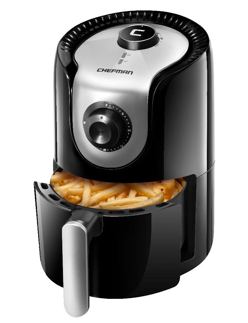 Chefman 1.6 Liter/1.7 Quart Personal Compact Mini Air Fryer, Healthy, Oil, Adjustable Temperature Control 30 Minute Timer, Dishwasher Safe Parts, BPA Free Black