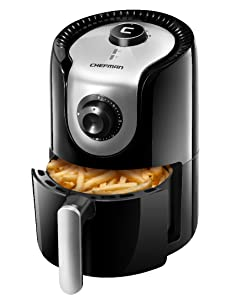 Chefman 1.6 Liter/1.7 Quart Personal Compact Mini Air Fryer, Healthy, Oil, Adjustable Temperature Control 30 Minute Timer, Dishwasher Safe Parts, BPA Free Black
