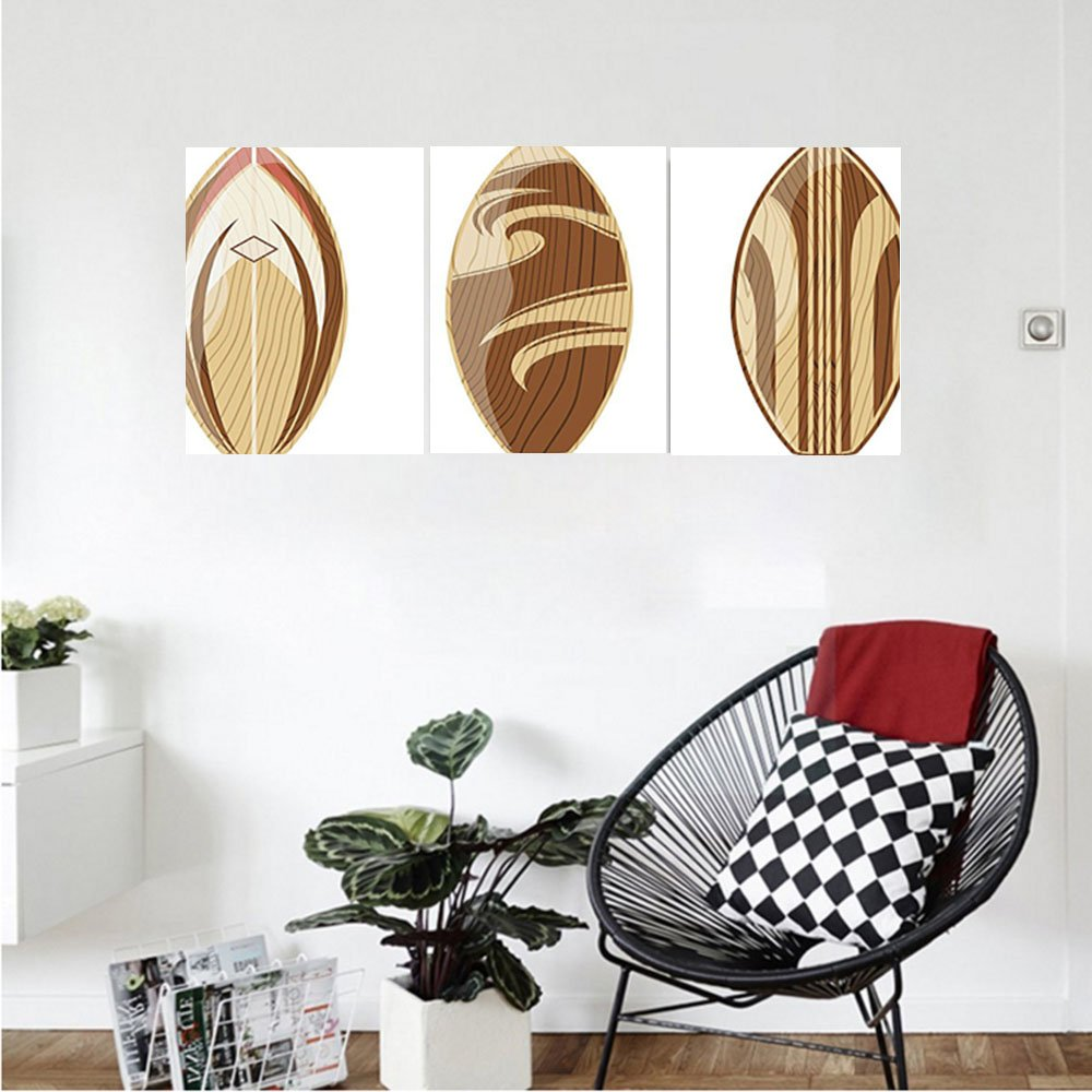Liguo88 Custom canvas Surfboard Decor Collection Wooden Surfboards Adventurous Wood Color Natural Classic Design Bedroom Living Room Wall Hanging Peru Cream Tan