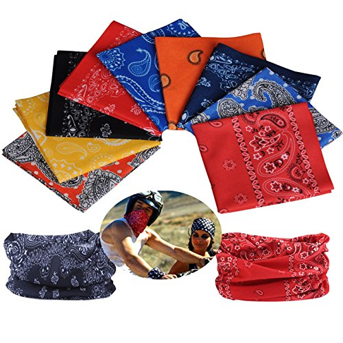 9pcs Seamless Headband Versatile 16-in-1 Stretchable Headwear Bandana Headwrap Sweatband Scarf, Balaclava, Helmet Liner, Face Mask for ATV/UTV Riding UV Protection Sport & Casual Multifunctional
