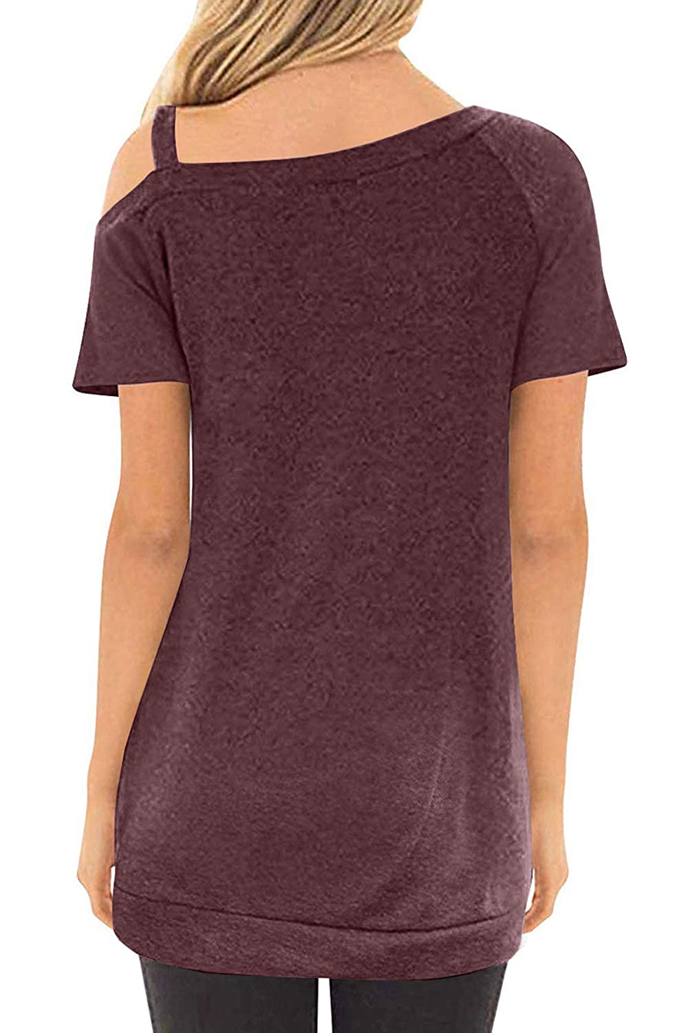 CILKOO Womens Casual Cold Sleeve Side Button Tunic Loose T Shirt Blouse Tops S-XXL