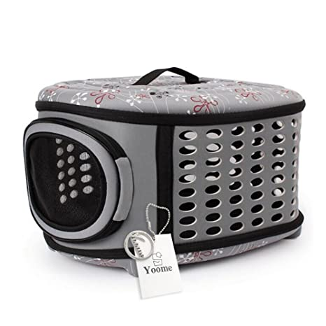 Yoome Caseta de Viaje Plegable para Mascotas para Gatos, Perros Pequeños y Conejos, Portátil
