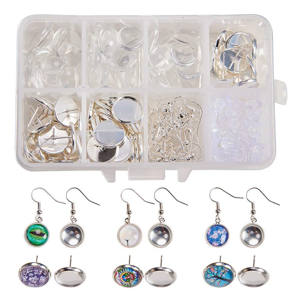 Dangle Earrings /& Stud Earrings, Golden SUNNYCLUE 1 Box DIY 30 Pairs Cabochon Dangle Stud Earrings Making Kit 60pcs Earring Bezel Earring Settings with 60pcs 12mm Clear Glass Cabochons Earring Hooks