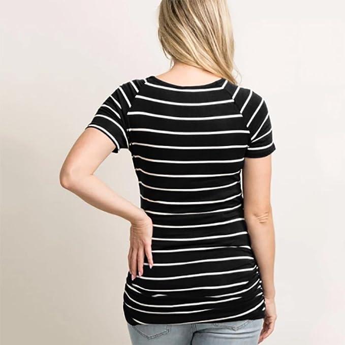 Camiseta de maternidad de enfermería de manga corta con cuello en V para mujeres embarazadas de O-Neck Top ropa premama ☆Longra: Amazon.es: Alimentación y ...
