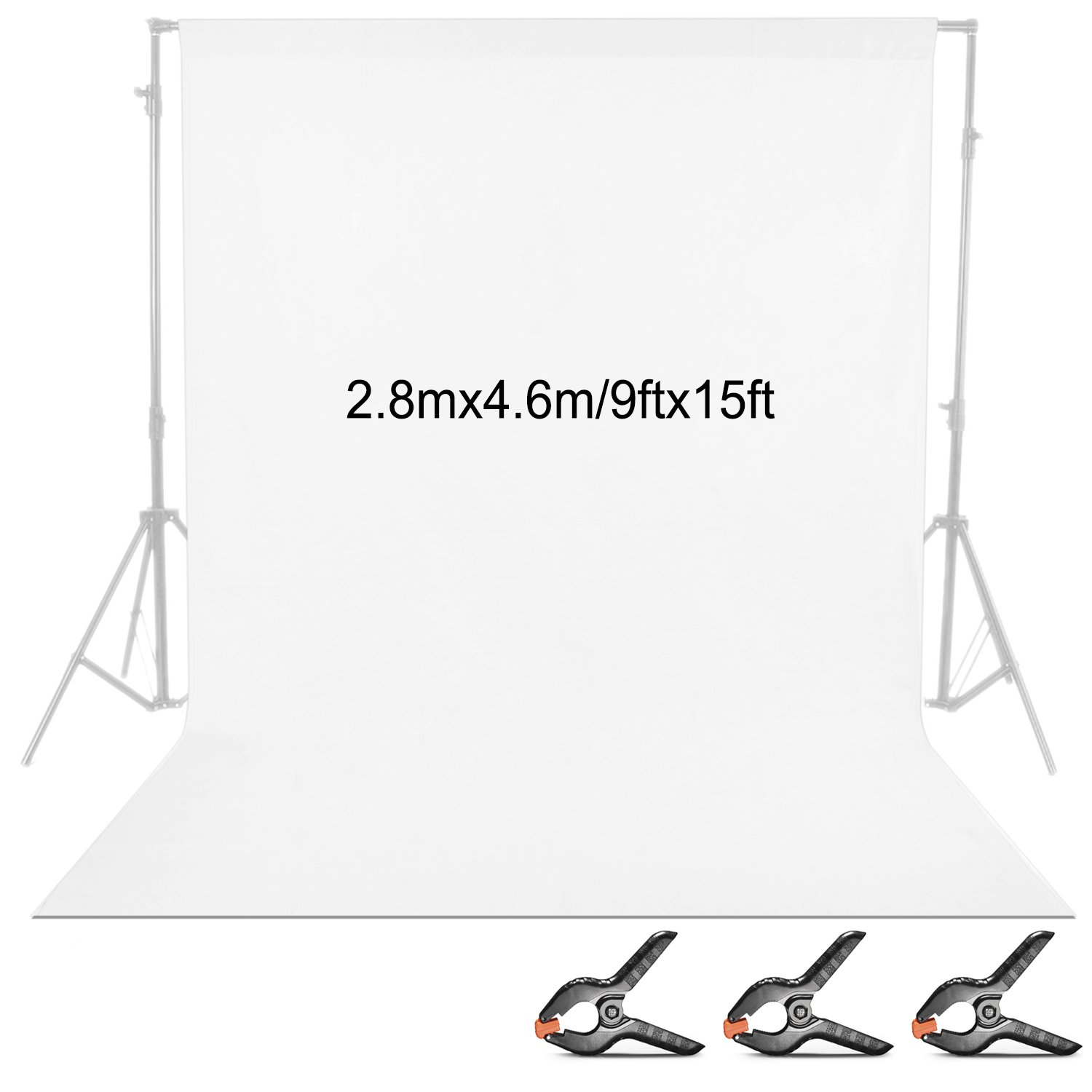 Neewer 9 x 15 feet/2.8 x 4.6 meters Fabric Photography Backdrop Background Screen with 3 Clamps for Photo Video Studio Shooting (White) by Neewer