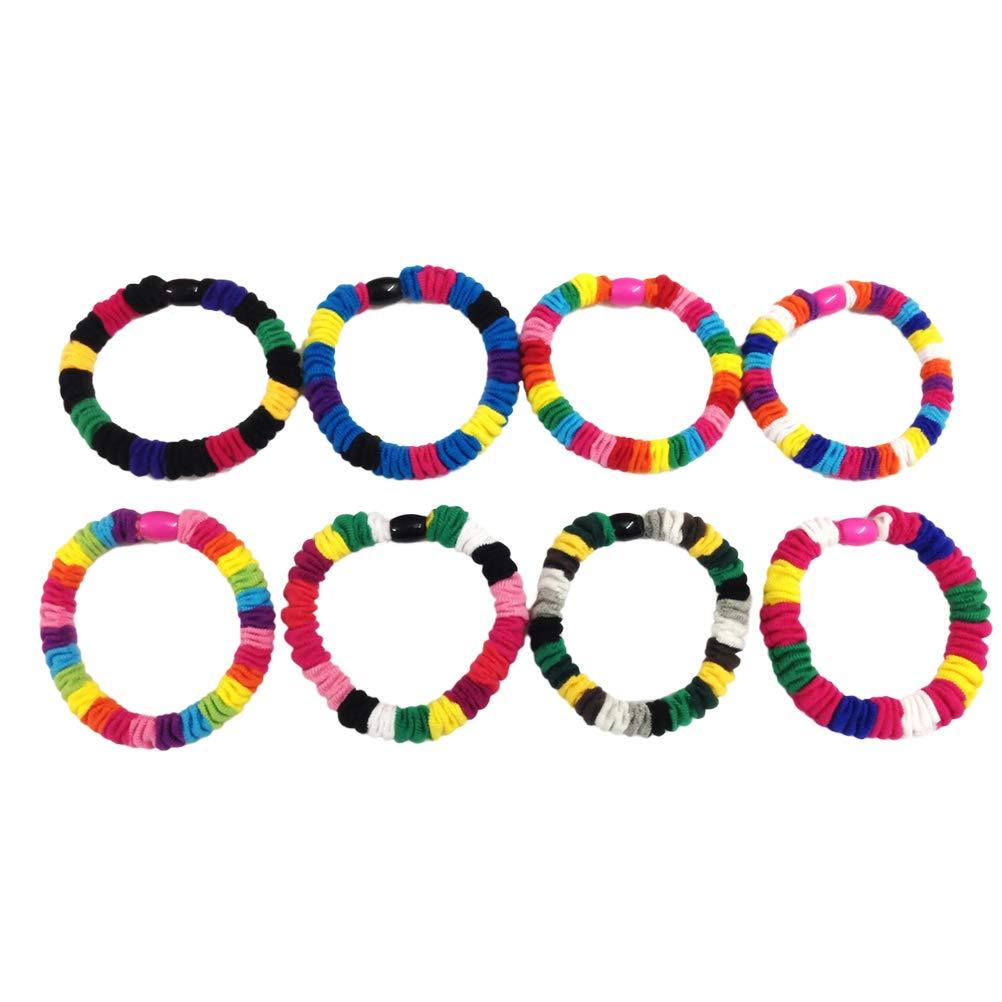 Lurrose 8st Rainbow Tuch Haargummis Elastic Band Pferdeschwanz Inhaber für Mädchen Teens Kids