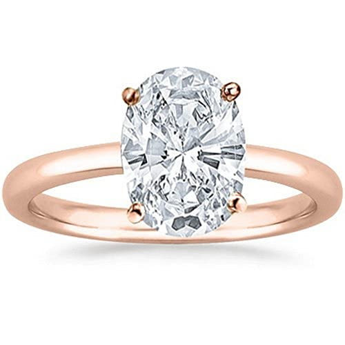 14K White Gold Oval Cut Solitaire Diamond Engagement Ring (0.75 Carat J Color SI1 Clarity)