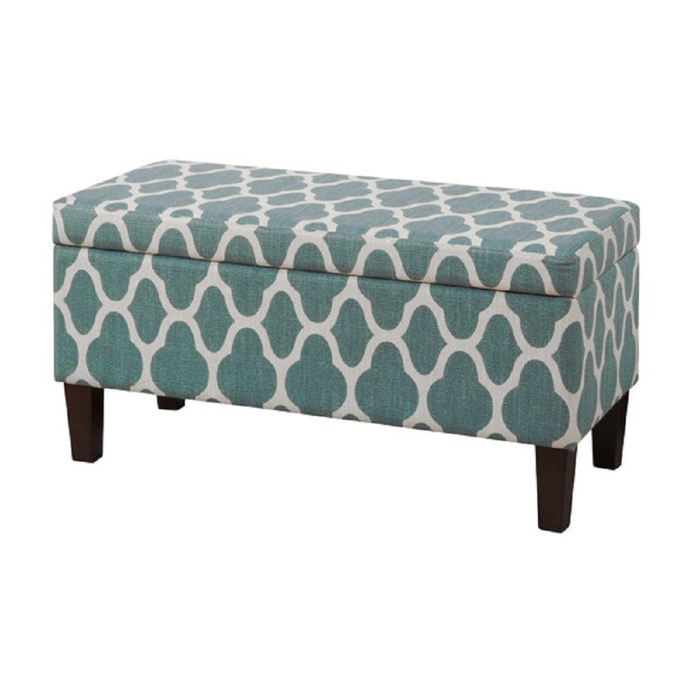 amazoncom homepop upholstered decorative storage ottoman teal  - amazoncom homepop upholstered decorative storage ottoman teal bluekitchen  dining