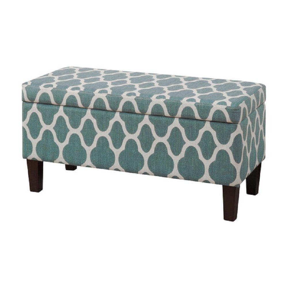 Amazoncom HomePop Upholstered Decorative Storage Ottoman Teal