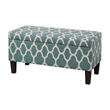 Amazoncom HomePop Upholstered Decorative Storage Ottoman Teal