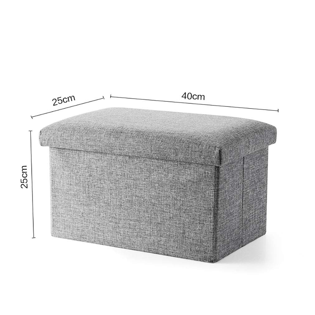 C Stool Solid color Storage Multifunction Folding Storage Breathable Cotton And Linen Osman Suitable for Living Room Corridor TAO LU SHOP (Size   A)