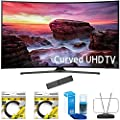 "Samsung 49"" Curved 4K Ultra HD Smart LED TV 2017 Model (UN49MU6500FXZA) with 2x 6ft High Speed HDMI Cable Black, Universal Screen Cleaner for LED TVs & Durable HDTV and FM Antenna"