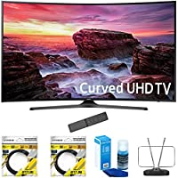 Samsung 49 Curved 4K Ultra HD Smart LED TV 2017 Model (UN49MU6500FXZA) with 2x 6ft High Speed HDMI Cable Black, Universal Screen Cleaner for LED TVs & Durable HDTV and FM Antenna