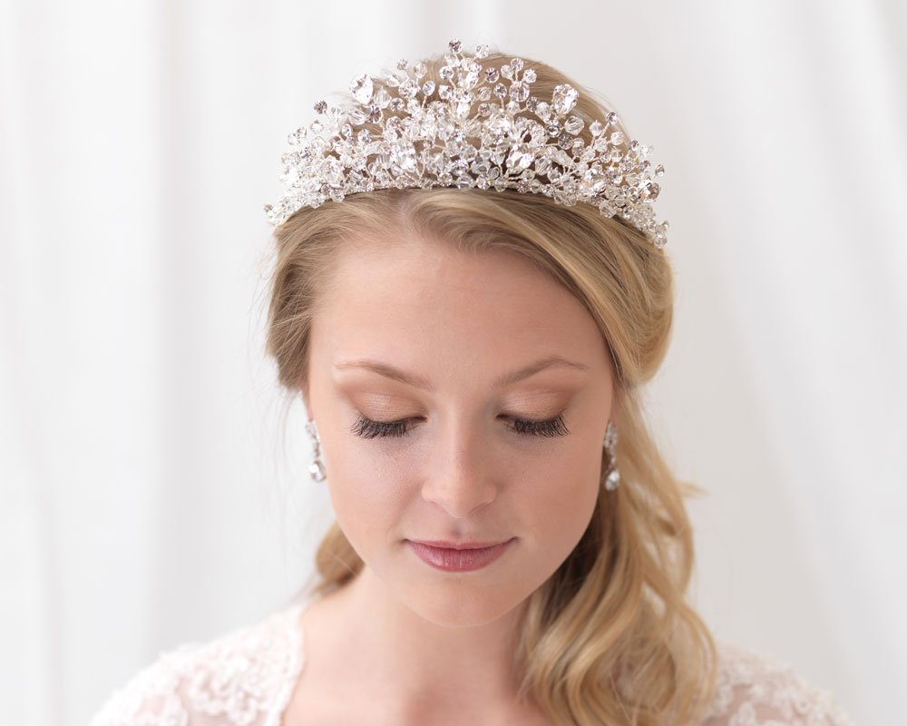 USABride Swarovski Crystal Wedding Tiara Bridal Headpiece Crown Bride Wedding Day TI-3299 by USABride (Image #1)
